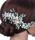 Romantic Flower Bouquet Rhinestone Crystal Pearl Hair Jewelry For Wedding/Prom/Party