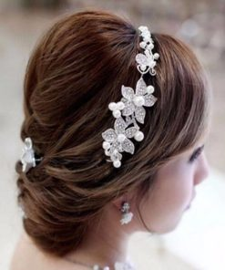 Luxury Silver Rhinestone Pearl Jewel Flower Hair Accessory For Women