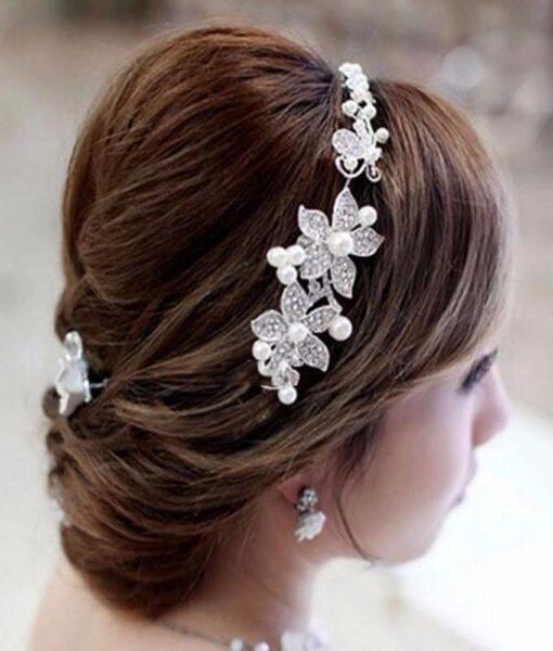 Luxury Silver Rhinestone Pearl Jewel Flower Hair Accessory For Women