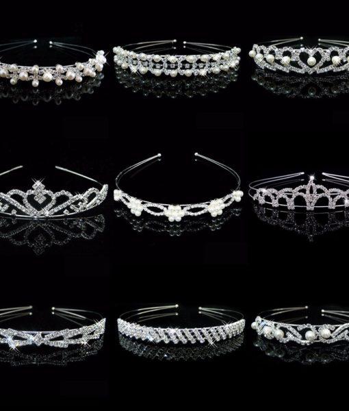 Women Brilliant Gem Pearl Encrusted Wedding Bridal Bridesmaid Headband Tiara Crown - 11 Styles