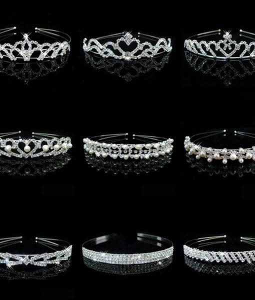 Romantic Bridal Bridesmaid Prom Crystal Pearl Charm Headband Tiara Crown - 15 Styles