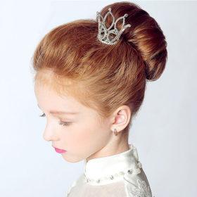 Dainty French Rhinestone Crystal Mini Tiara Hair Accessory For Girls/Women