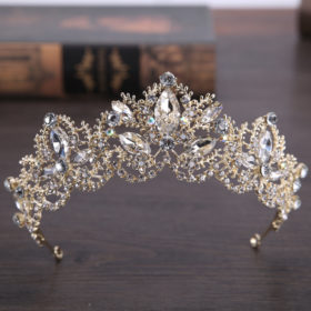 Luxurious Baroque Light Gold Diadem Crown Tiara For Wedding/Pageant/Prom/Cosplay
