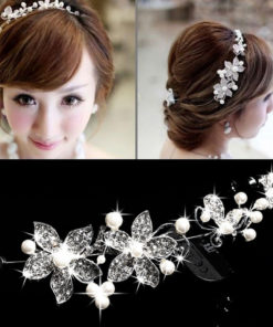 Luxury Silver/Gold Rhinestone Pearl Jewel Flower Hair Accessory For Women - 2 Colors