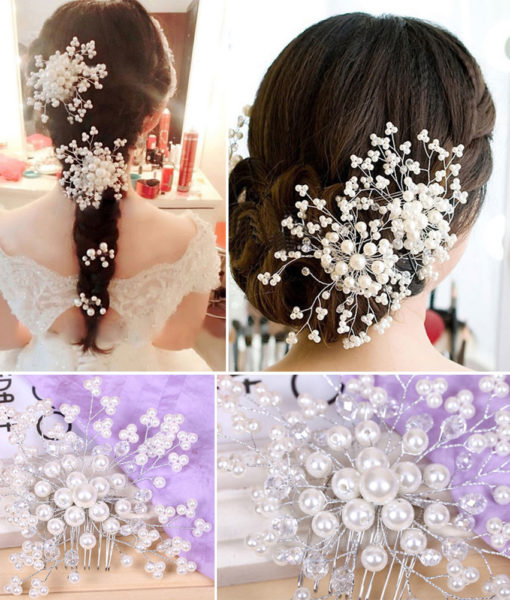 Exquisite Bridal Wedding Faux Pearl Hair Comb Accessory