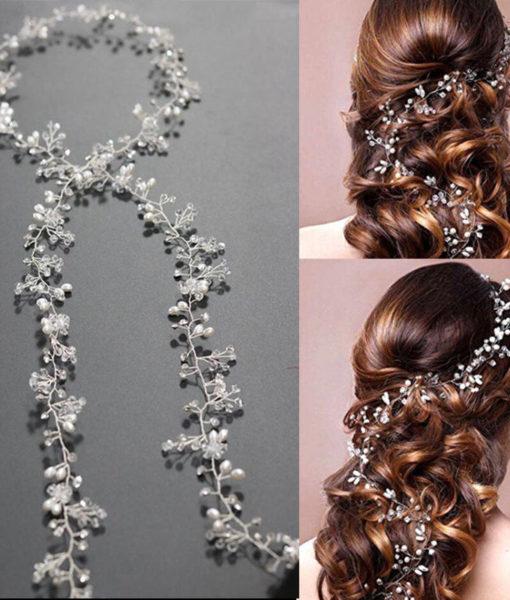 Luxury Rhinestone Crystal Pearl Wild Berries Hair Jewelry For Women