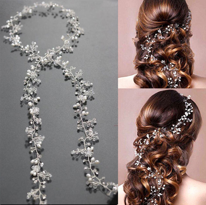 Luxury Rhinestone Crystal Pearl Wild Berries Hair Jewelry For Women