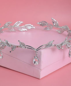 Enchanting Nymph Rhinestone Leaf Bridal Tiara With Water Drop Charms