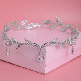 Enchanting Nymph Rhinestone Leaf Bridal Tiara With Water Drop Charms