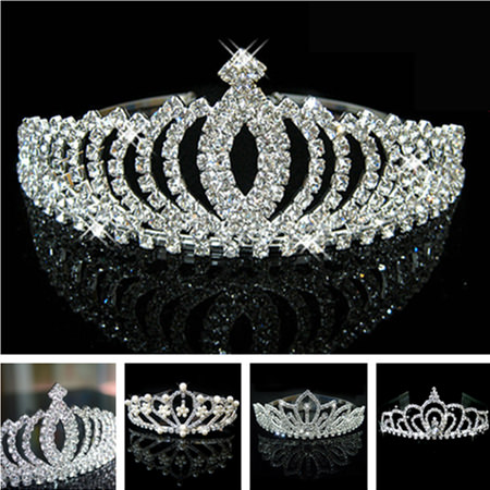 Romantic Peach Rhinestone Crystal Bridal Pageant Prom Cosplay Crown Tiara