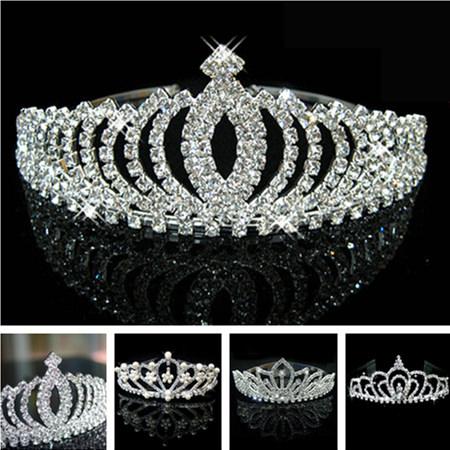 Romantic Peach Rhinestone Crystal Bridal Pageant Prom Cosplay Crown Tiara