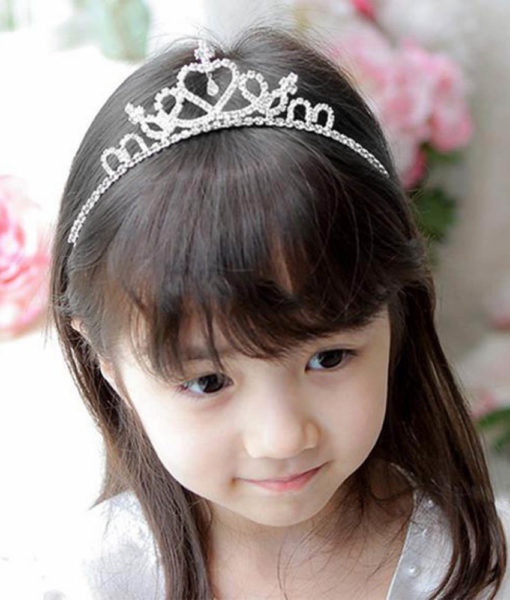 Charming Kid Size Flower Girl Baby Princess Crown Headband With Austrian Crystals
