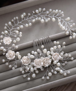 Gorgeous Berry And Rose Flower Wedding Prom Party Hair Jewelry For Women