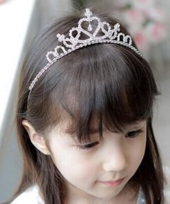 Cute Heart Princess Rhinestone Headband Crown Tiara For Girls