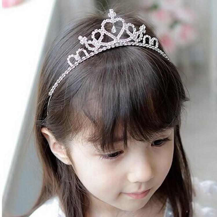 cute heart princess rhinestone headband crown tiara for girls