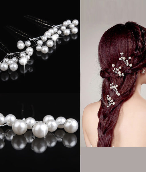 Glamorous 3-Pieces Faux Pearl Tassel Hair Pin Accessories - 2 Colors