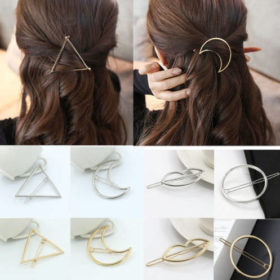 Chic Gold/Silver Plated Metal Triangle Circle Moon Hair Clip For Women - 4 Styles