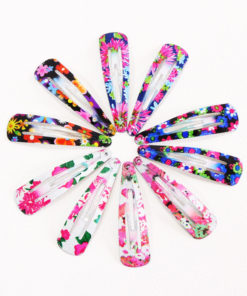 Delightful Flower Geometric Print Hair Clip Set For Women - 7 Sets