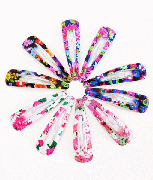 Delightful Flower Geometric Print Hair Clip Set For Women - 7 Sets