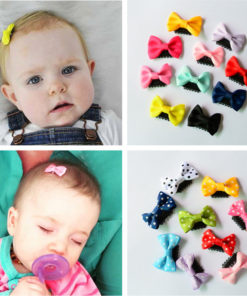 Cute 10-Pieces Solid Polka Dot Mini Bow Baby Hair Grips - 2 Styles