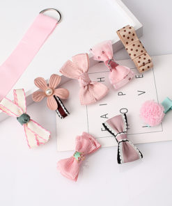 Fashionable Kids 8-Pieces Multi-Style Ribbon Bow Flower Hair Barrette Set - 5 Styles