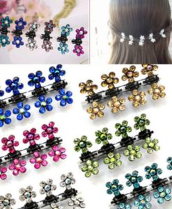 Bejeweled 12-Pieces Rhinestone Crystal Flower Mini Barrette Hair Claw For Women - 7 Colors