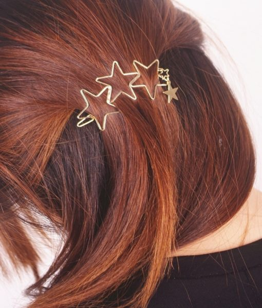 Classy Gold Plated Five Stars Tassel Hairpin Accessories For Women
