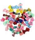 Trendy Girls Candy Color Dot Flower Print Ribbon Bow Hair Clips - 7 Styles