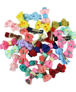 Trendy Girls Candy Color Dot Flower Print Ribbon Bow Hair Clips