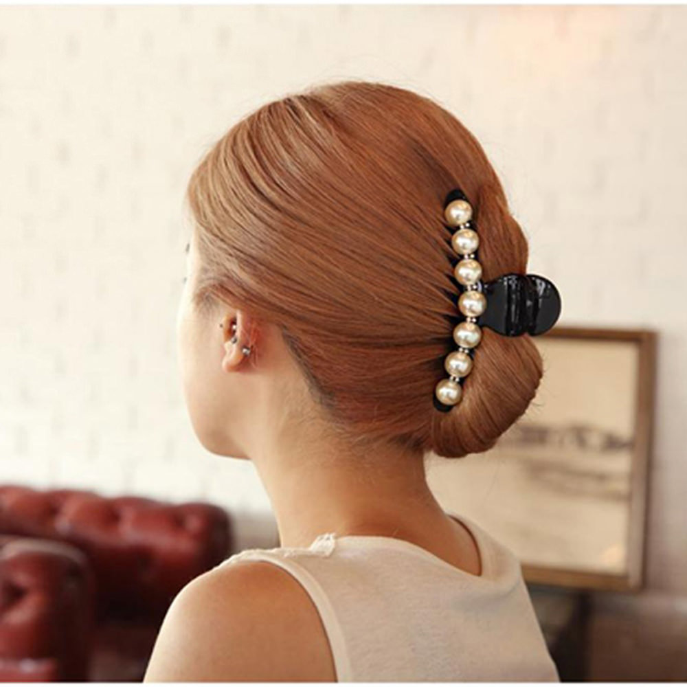 Elegant Rhinestone Crystals And Faux Pearl Hair Clamp For Women