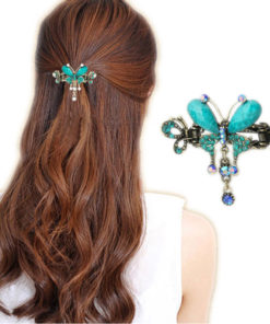 Vintage Women Turquoise Butterfly Flower Hair Barrette With Rhinestone Crystals