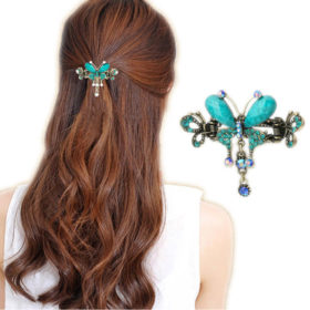 Vintage Women Turquoise Butterfly Flower Hair Barrette With Rhinestone Crystals - 5 Colors