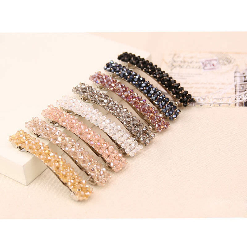 Women's Sparkling Rhinestone Crystal Beads Hair Clip Barrette - 6 Colors