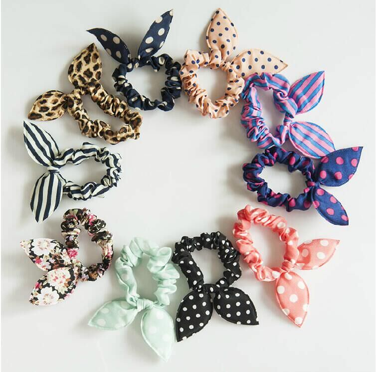 Cute Polka Dot Rabbit Ears Hair Tie For Women