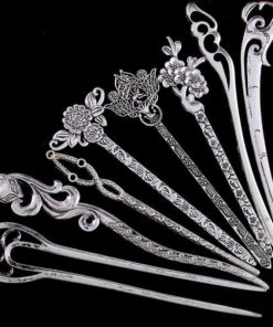 Elegant Silver Vintage Hair Stick Pin For Women - 16 Styles