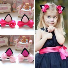 2 Styles Cute Cat Ears Baby Girl Hair Clip Accessories