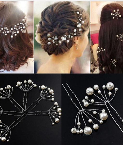 5-Pieces Pearl Flower Wedding Hair Clip Ornaments For Women
