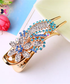 Gorgeous Rhinestone Crystal Studded Flower Hair Clip Ornament For Women