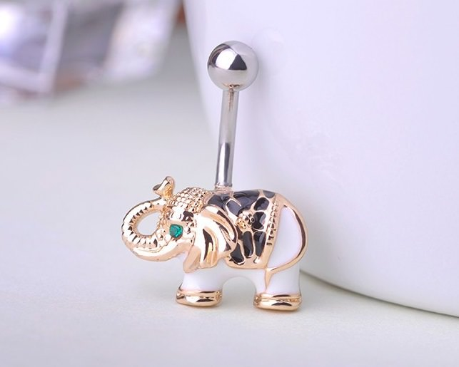 Cute Gold Body Piercing Jewelry Elephant Navel Ring