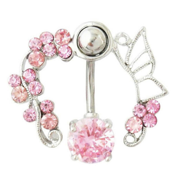 Enchanting Butterfly Garden Hollow Belly Button Ring For Women 2