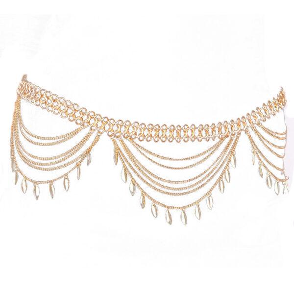 92a4c27f767cd Golden Turkish Gypsy Belly Dancing Leaf Tassel Belly Chain For Women ...