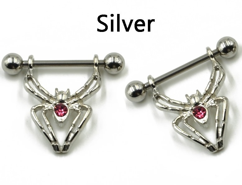HTB14dtFLXXXXXXXapXXq6xXFXXXz Sexy Spider Bites Piercing Nipple Ring Jewelry - 2 Colors