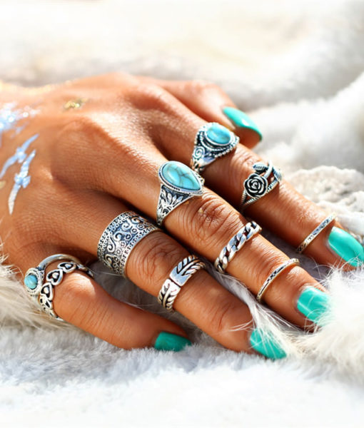 10-Pieces Vintage Tibetan Turquoise Knuckle Ring Set For Women - 2 Colors
