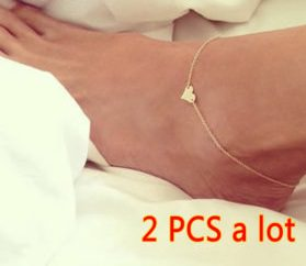 Heart shaped foot anklet
