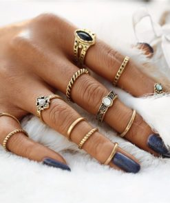Set of 12 Piece Boho Tribal Vintage Punk Midi Rings - 2 Colors