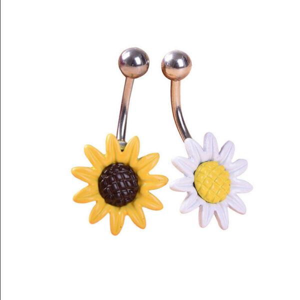 Stainless Steel Sun Flower Belly Button Ring 2 Colors Body Chain