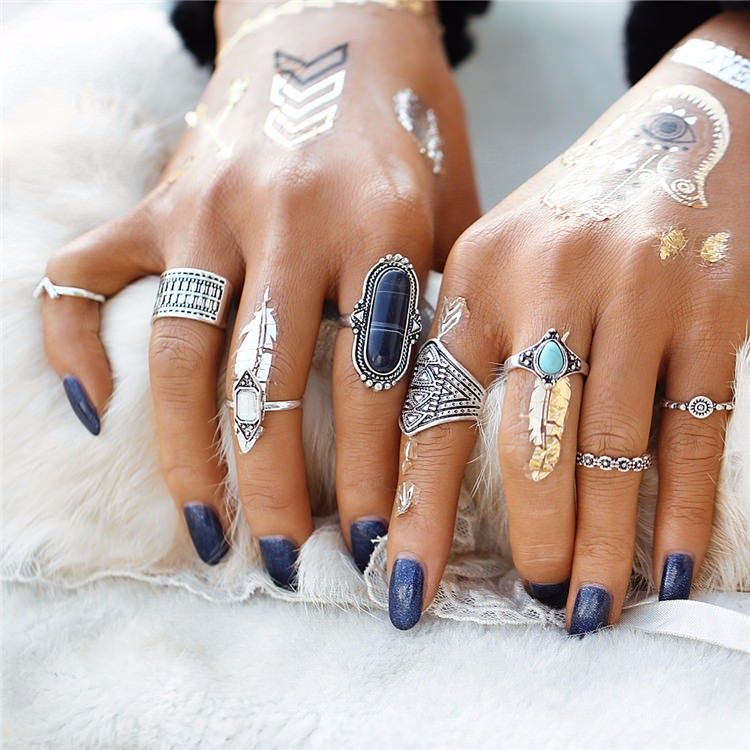 Tribal Boho Jewelry Set 8-Pieces Vintage Tibetan Turkish Knuckle Rings - 2 Colors