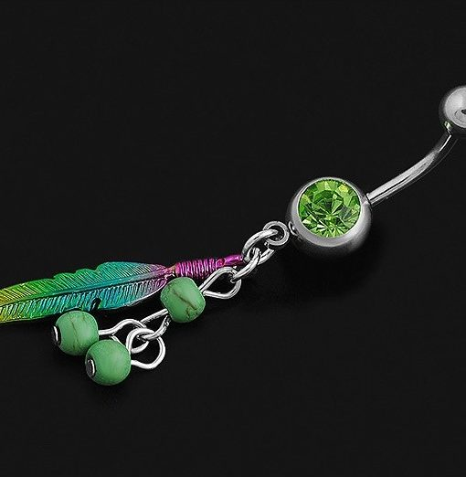 leaf belly button navel ring