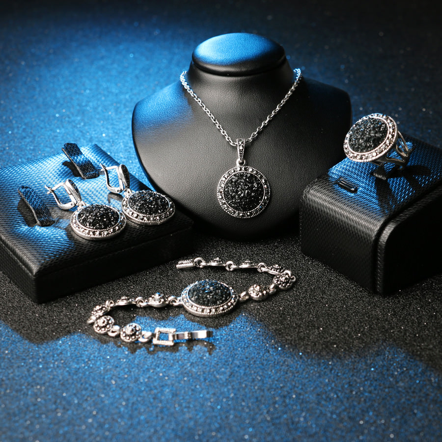 4 Piece Black Stone Crystal Vintage Silver Jewelry Set