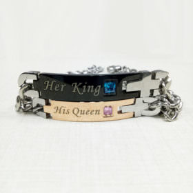 his and her queen couples love bracelet